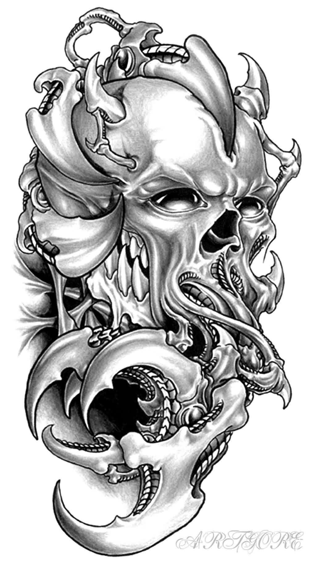 45 octopus skull tattoo designs and ideas. Black Bedroom Furniture Sets. Home Design Ideas