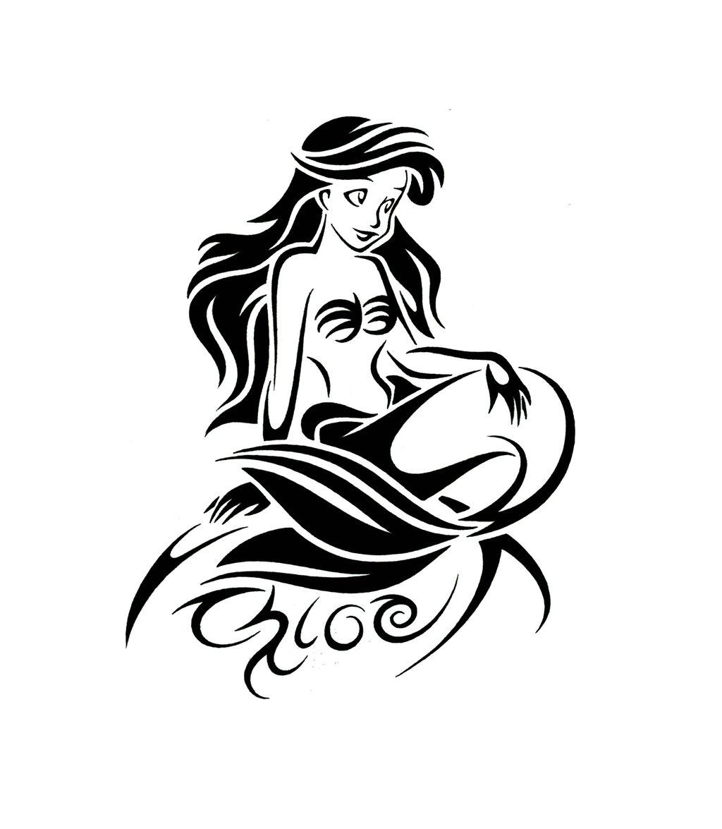 39 outline mermaid tattoos ideas. Black Bedroom Furniture Sets. Home Design Ideas