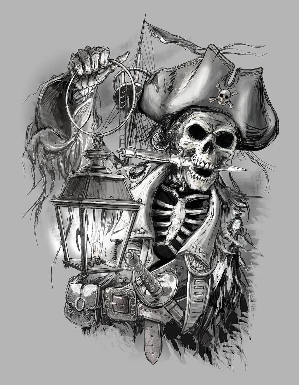 Grey Ink Candle Lamp In Pirate Skeleton Hand Tattoo Design By Obxrussell