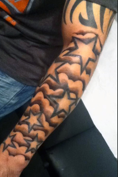 59 wonderful star tattoos on arm for Forearm cloud tattoos