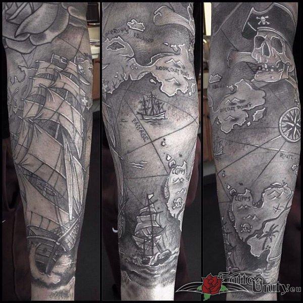 40 pirate tattoos on sleeve rh askideas com old pirate map tattoo pirate map tattoo designs