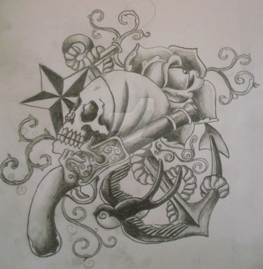 8950f680e39fe Grey Ink Pirate Skull With Gun And Anchor Tattoo Design By Cut Throat Jake