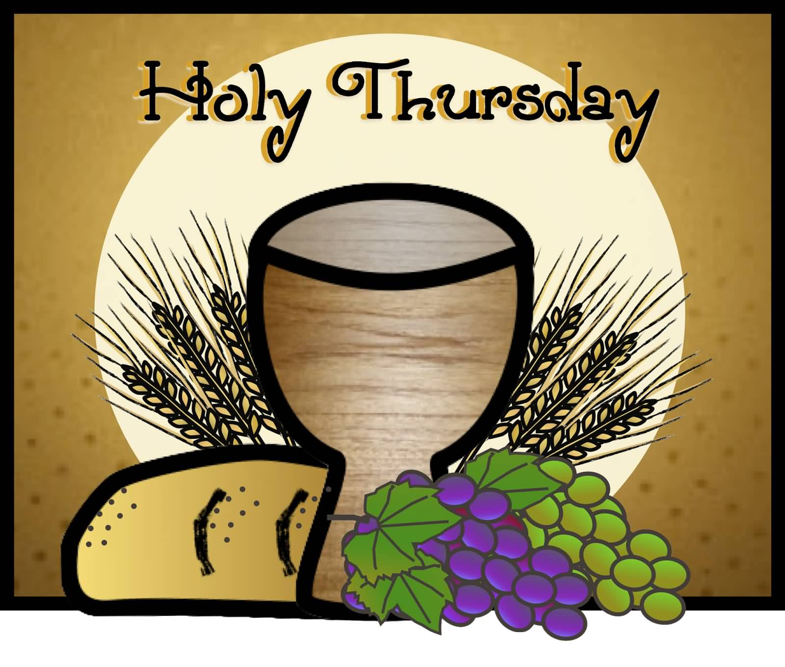 Holy thursday grapes wheat and wine glass illustration m4hsunfo