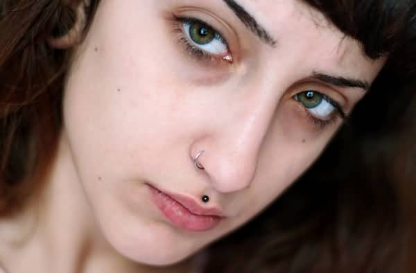 Hoop Ring Nostril And Medusa Piercing With Black stud