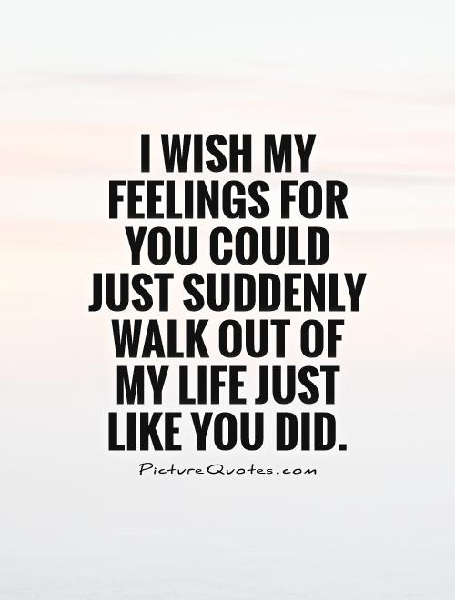 I wish my feelings for you could just suddenly walk out of my life just like you did