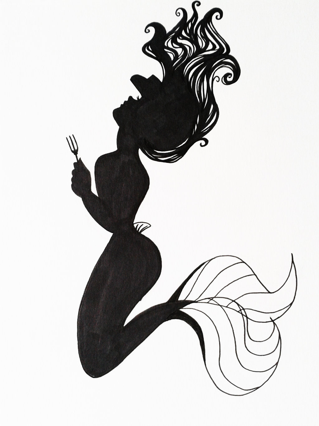 inspiring silhouette mermaid tattoo design