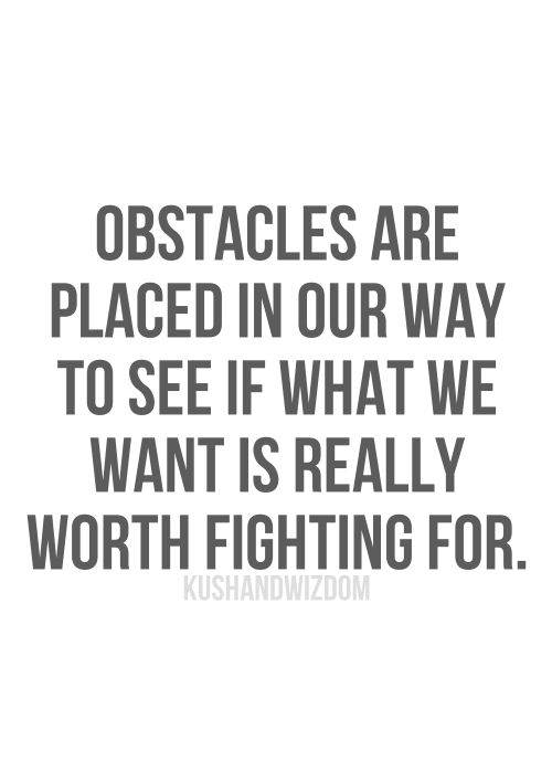 Obstacles Are Put In Your Way To See If What You Want Is Really Worth  Fighting