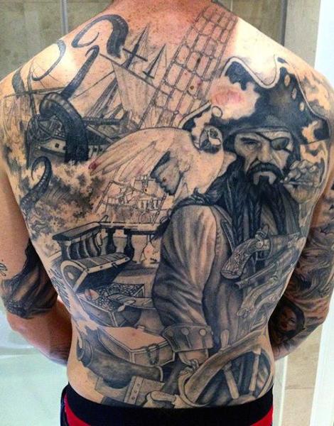 30 nice pirate tattoos on back