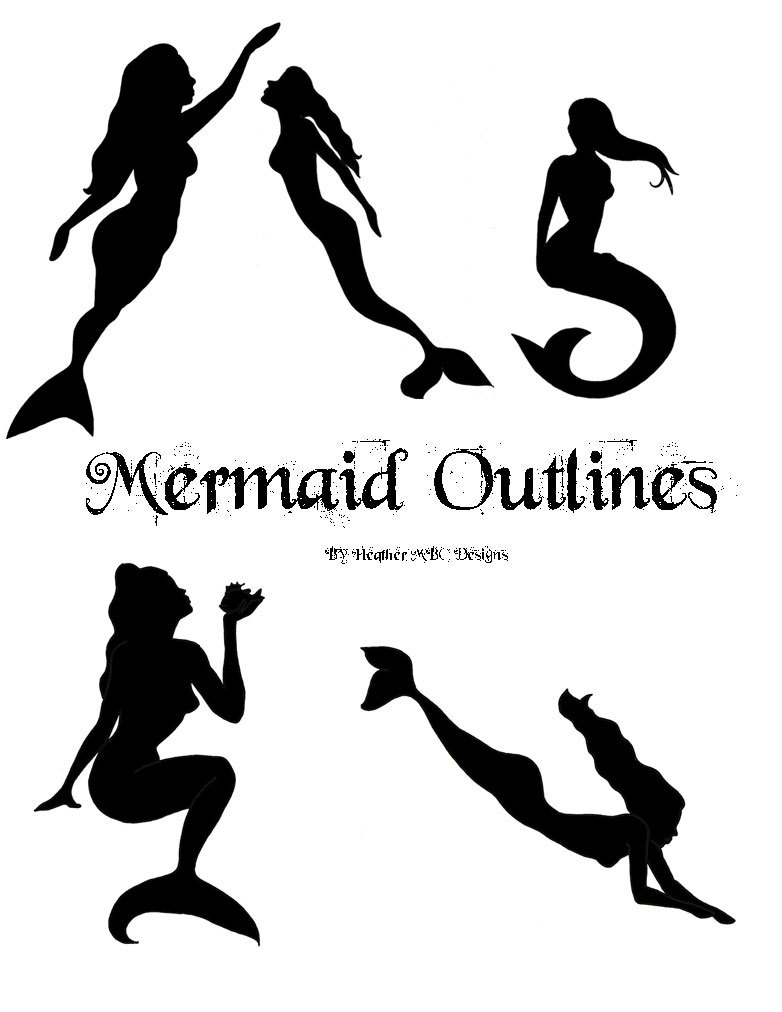 Elegant Silhouette Swimming Mermaid Tattoo Flash