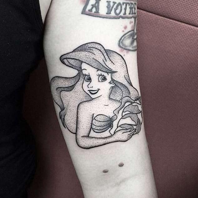 Cape Cod Tattoo Ideas Part - 24: Simple Dotwork Mermaid Tattoo On Left Bicep