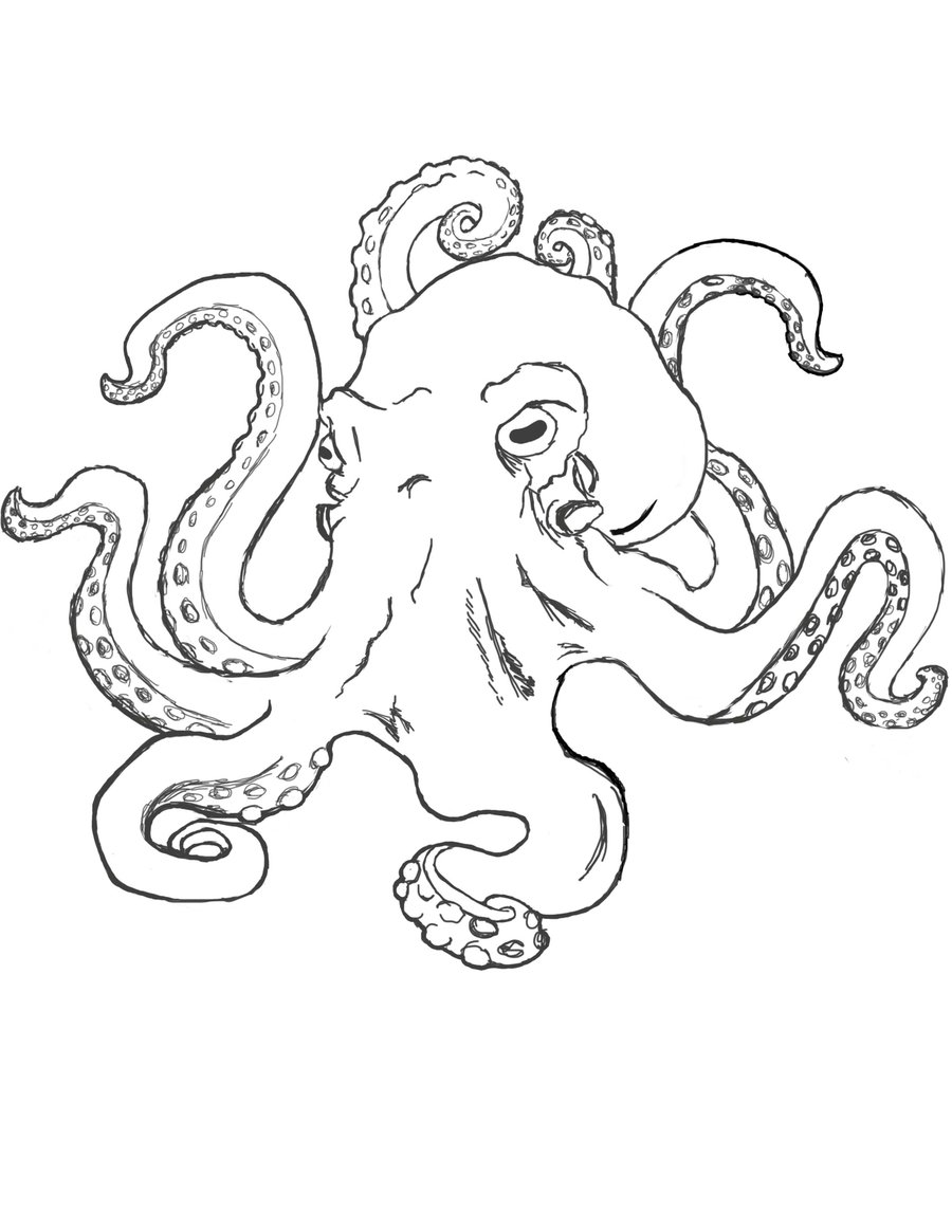 50 simple octopus tattoos for Simple octopus drawing