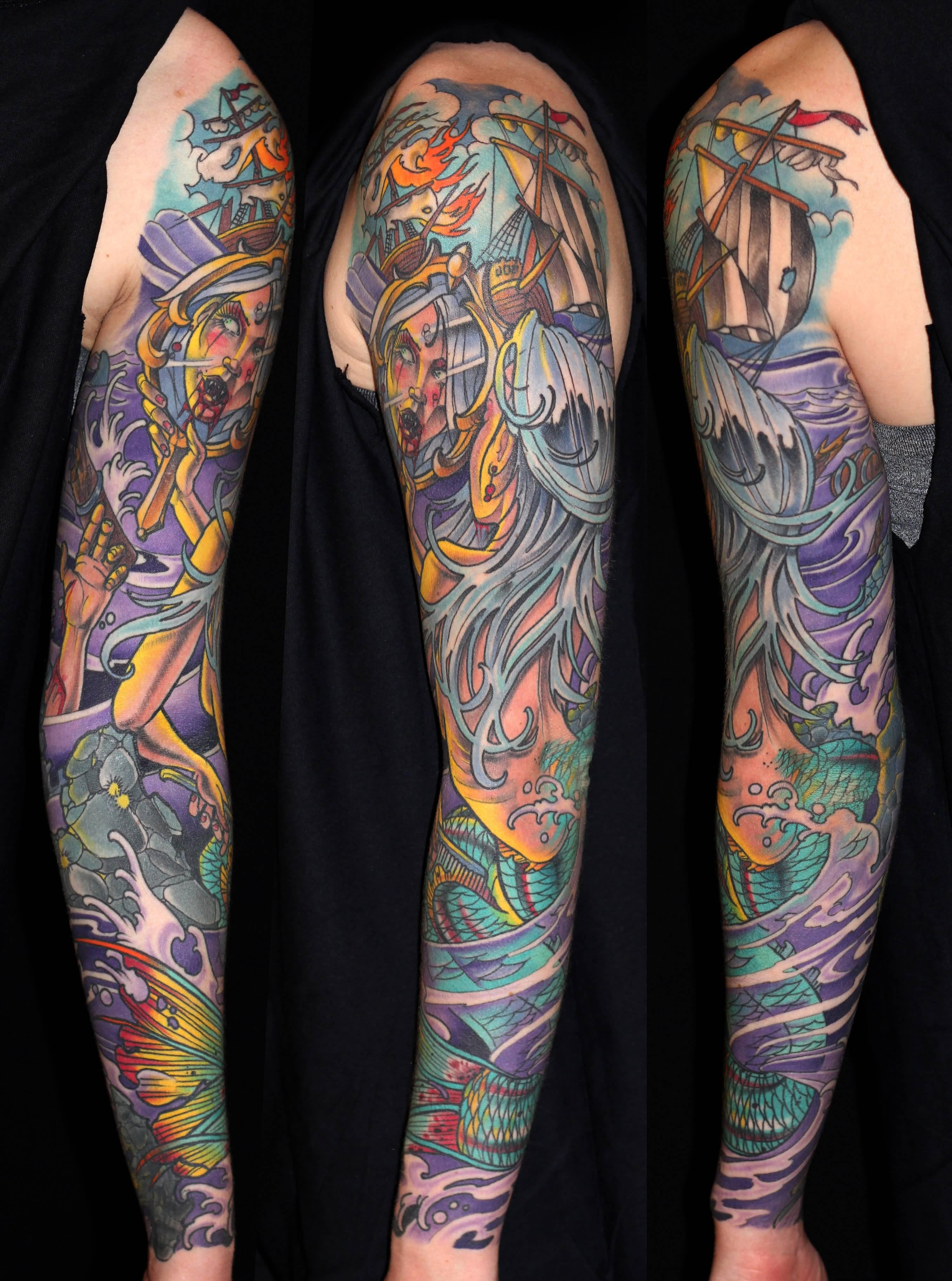 25 mermaid tattoos on sleeve for Traditional mermaid tattoo