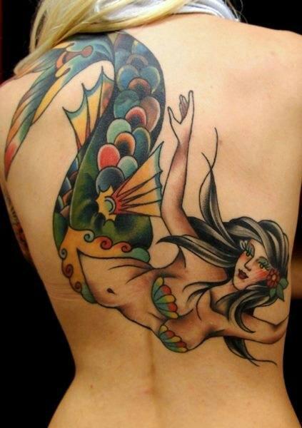 50 pin up mermaid tattoos ideas for Traditional mermaid tattoo
