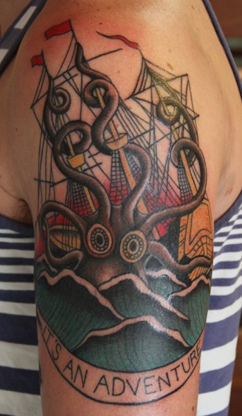 Octopous Tattoo Traditional: 53+ Octopus And Ship Tattoos