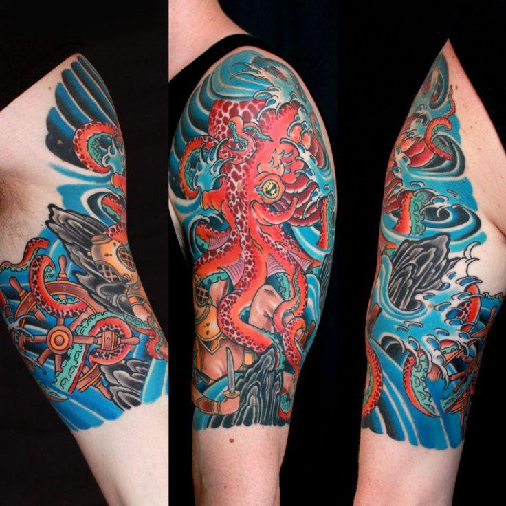 41 Octopus Tattoos On Half Sleeve