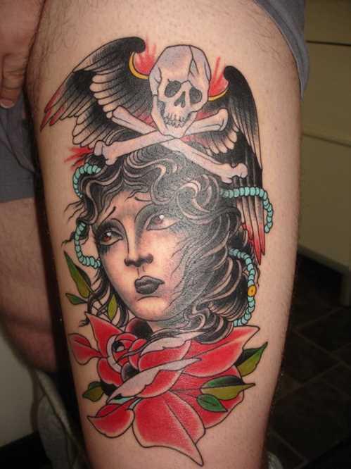 colorful traditional pirate skull tattoo on left shoulder. Black Bedroom Furniture Sets. Home Design Ideas