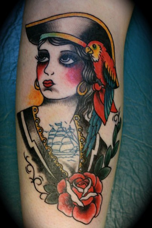 41 pirate girl tattoos ideas for Pinup girl tattoos