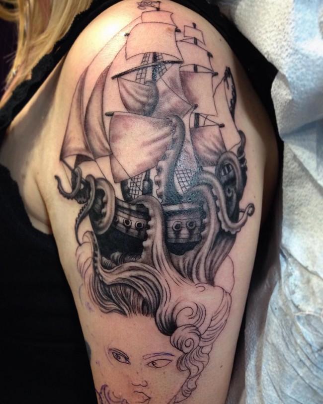 66 pirate ship tattoos ideas. Black Bedroom Furniture Sets. Home Design Ideas