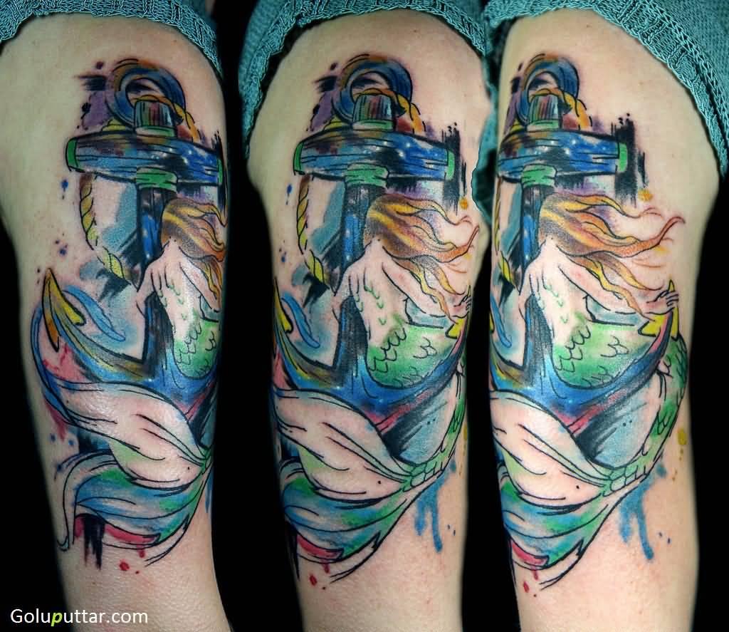 Sleeve Ink Tattoo Arm Color Tattoo Mermaid Saint: 33+ Mermaid Anchor Tattoos Ideas