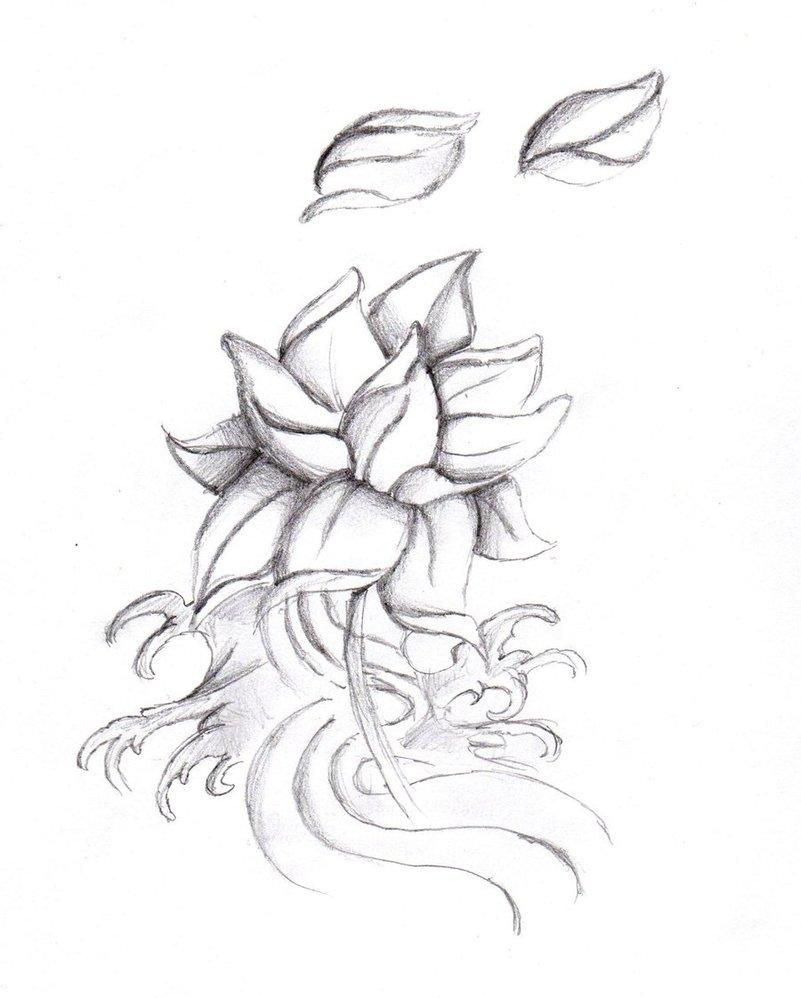 34 Black And White Lotus Tattoos