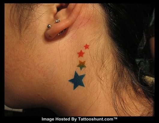 56 awesome star tattoos on neck for Side neck tattoos