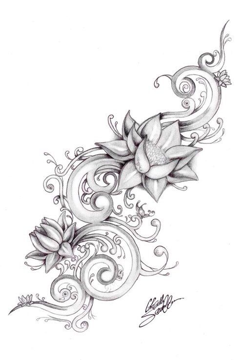 Grey Ink Lotus Flowers Tattoo Design