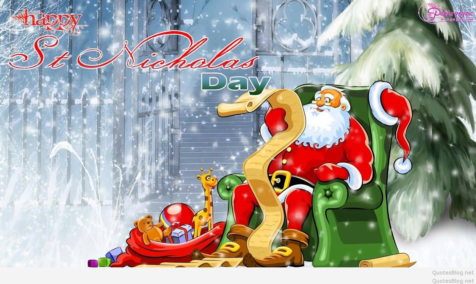 Attractive Happy St. Nicholas Day Santa Claus Illustration Photo