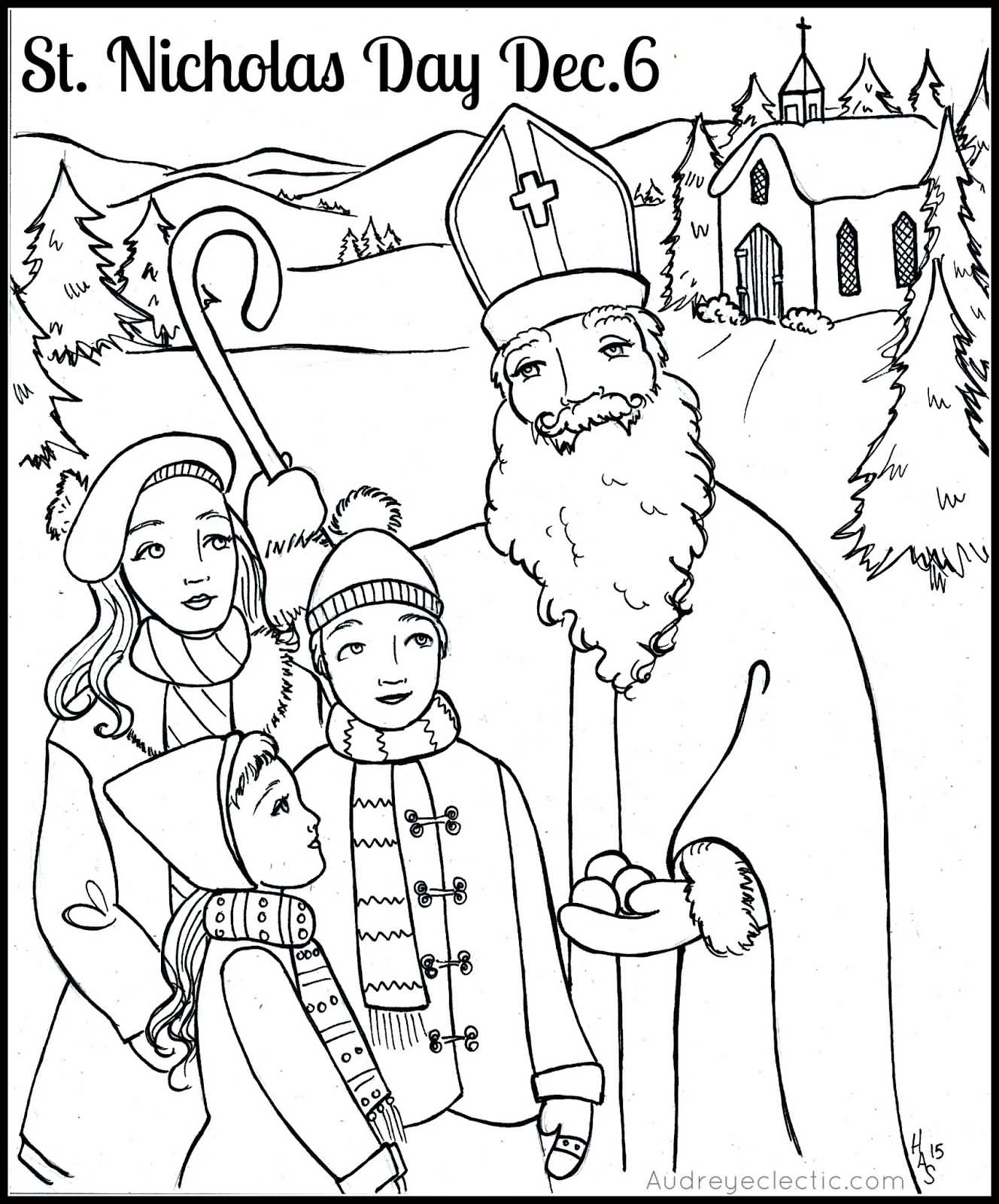 St Nicholas Day December 6 Coloring Page