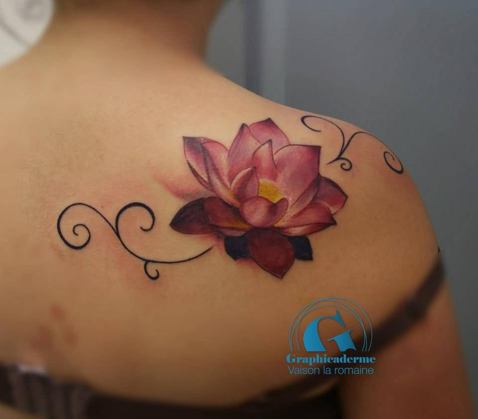 39 lotus tattoos on shoulder for Pink ink tattoo