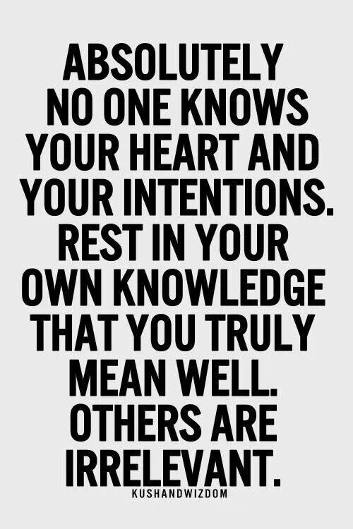 Absolutely no one knows your heart and your intentions. Rest in your own knowledge that you truly mean well others are irrelevant