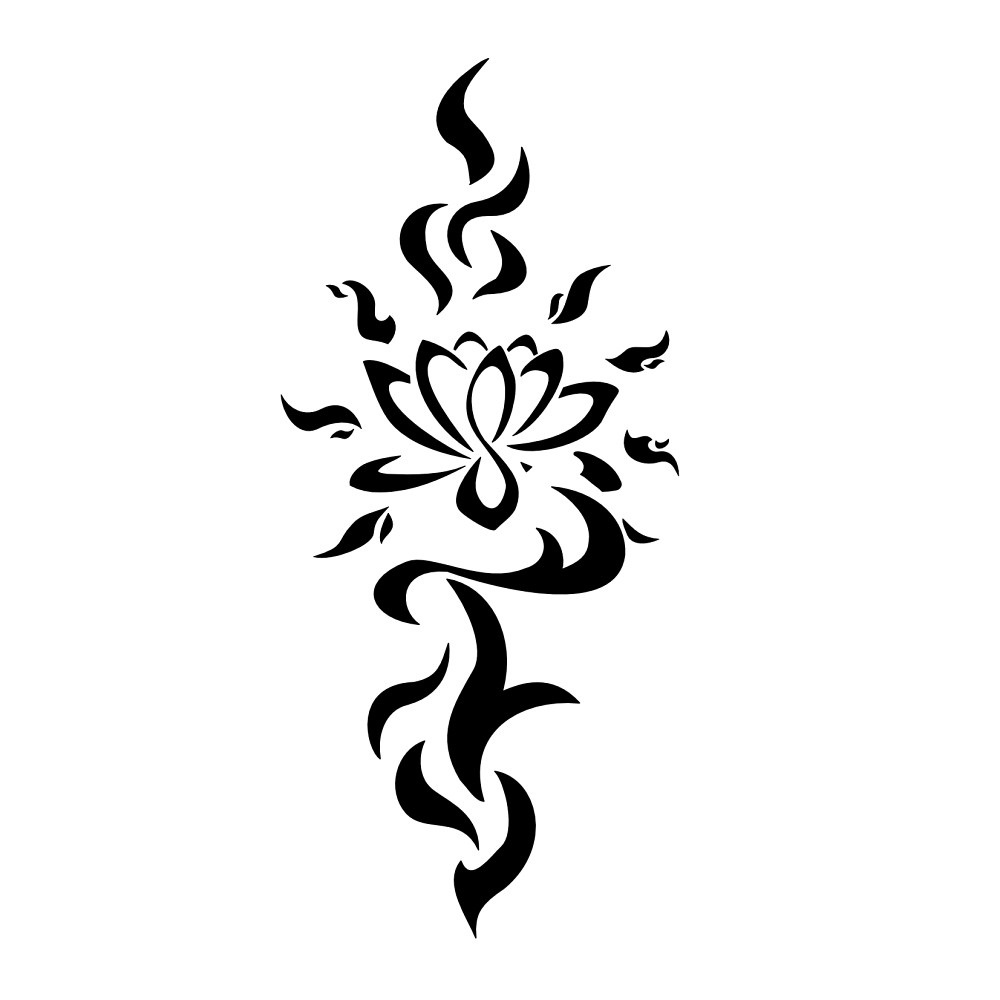 Amazing Black Tribal Lotus Flower Tattoo Stencil