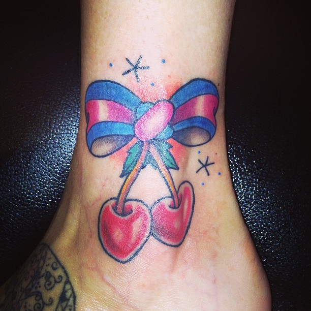 32 bow cherry tattoos ideas for Bow tattoos on ankle