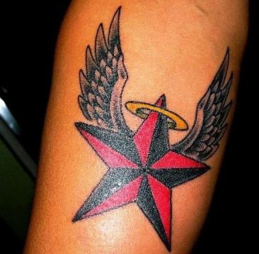 Angel Winged Nautical Star Tattoo On Arm