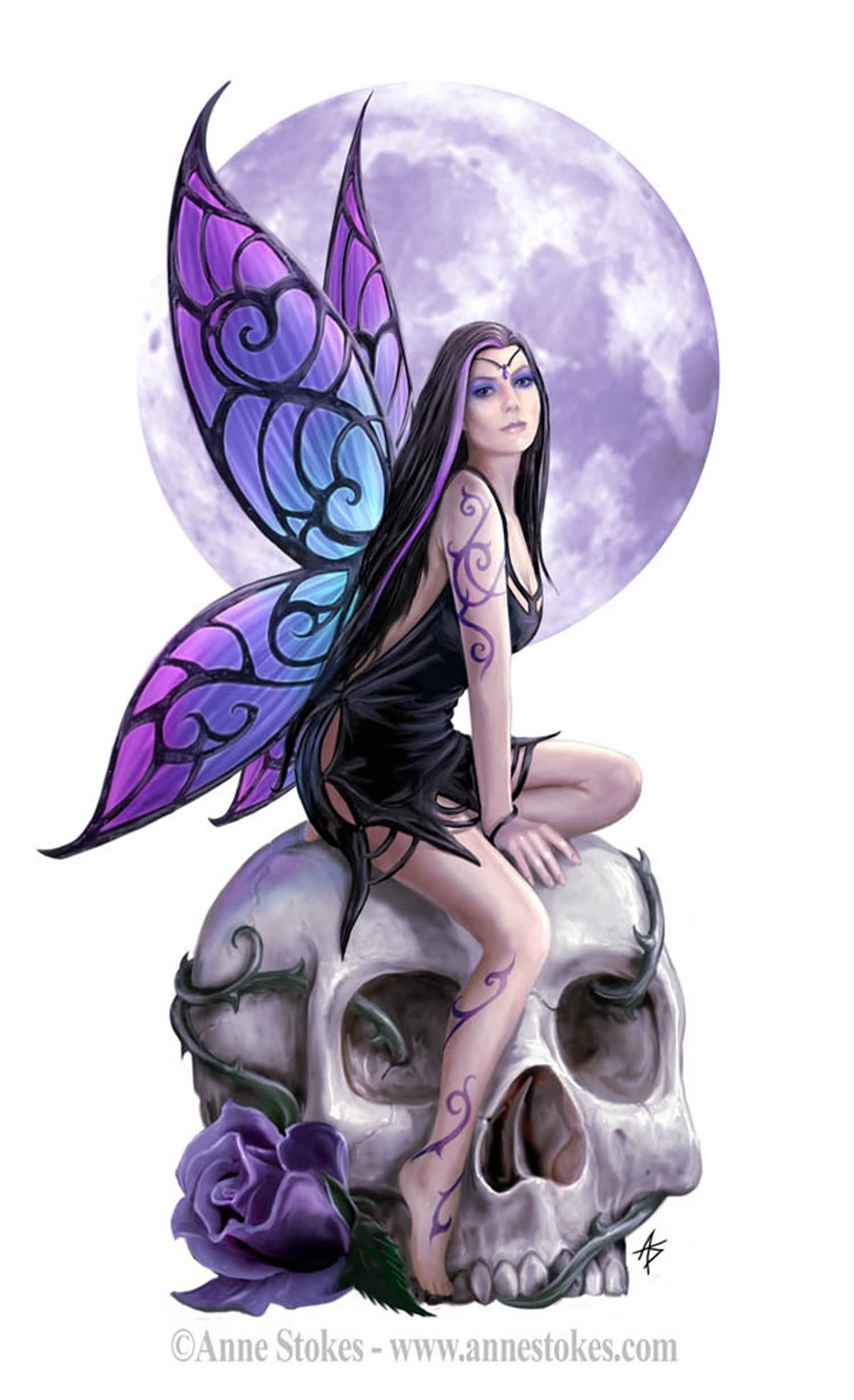 2d1bf4e20 Attractive 3D Gothic Fairy On Skull With Rose Tattoo Design