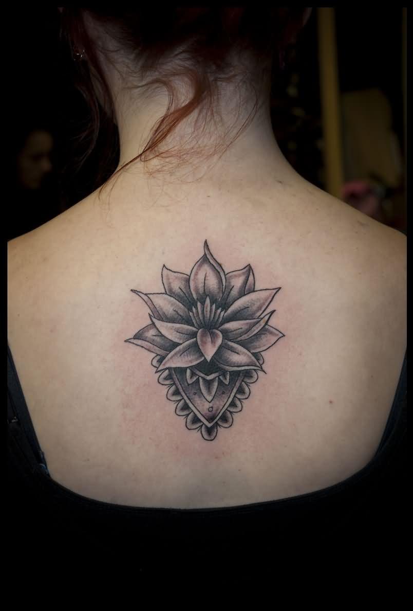42 black grey lotus tattoos designs attractive black and grey lotus flower tattoo on girl upper back izmirmasajfo
