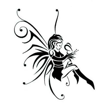 Attractive Black Fairy Tattoo Stencil