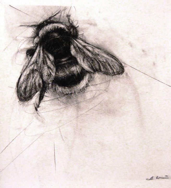 Attractive Black Ink Bumblebee Tattoo Design