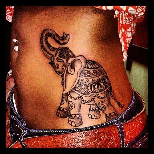 d5f12436c Attractive Black Ink Elephant Tattoo On Girl Left Side Rib