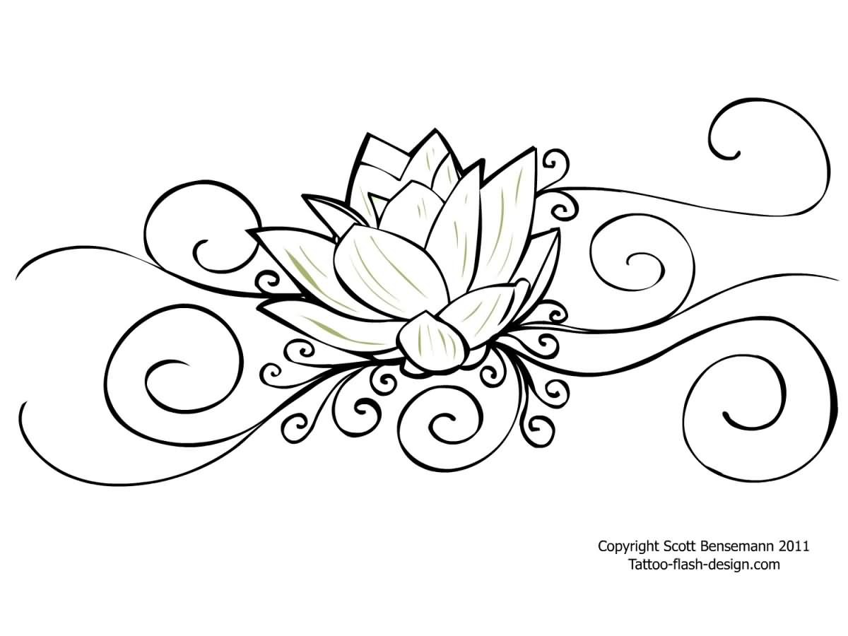Attractive Black Outline Lotus Flower Tattoo Stencil