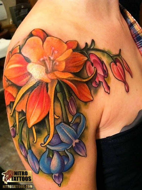 aca0affd2 Attractive Colorful Lily Flowers Tattoo On Right Shoulder
