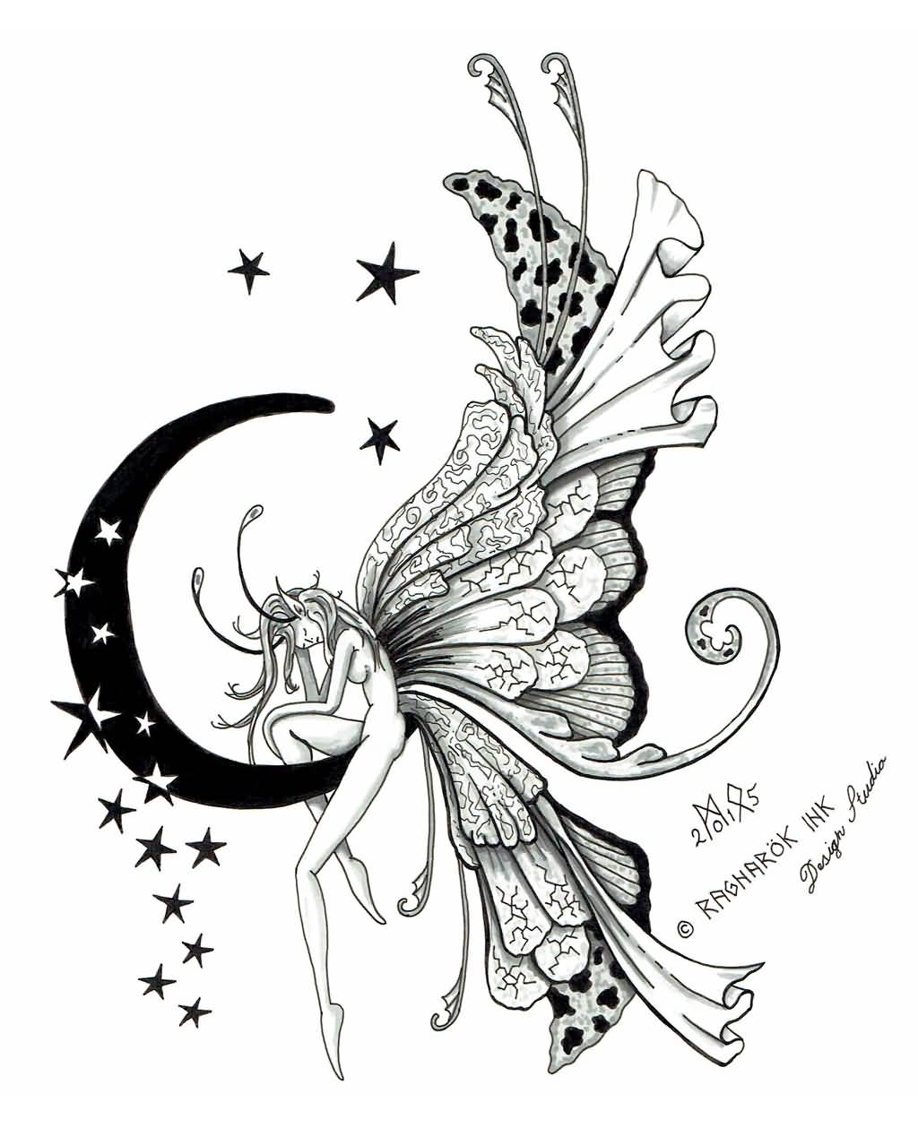 37 fairy tattoo designs for Half moon and star tattoo