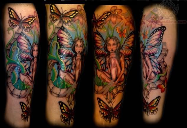 be89474ebf227 Attractive Fairy With Flying Butterflies Tattoo Design For Sleeve