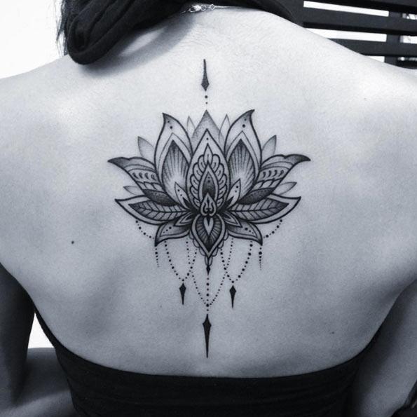 3495eec6acb39 Smile – Black Ink Camera Tattoo Design For Upper Back