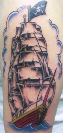 black ink pirate ship tattoo on right half sleeve. Black Bedroom Furniture Sets. Home Design Ideas