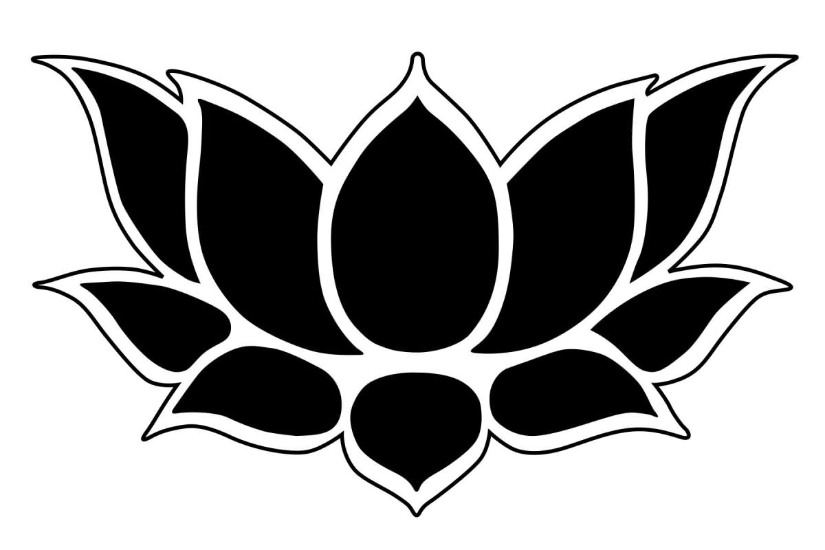 Awesome Black Lotus Flower Tattoo Stencil