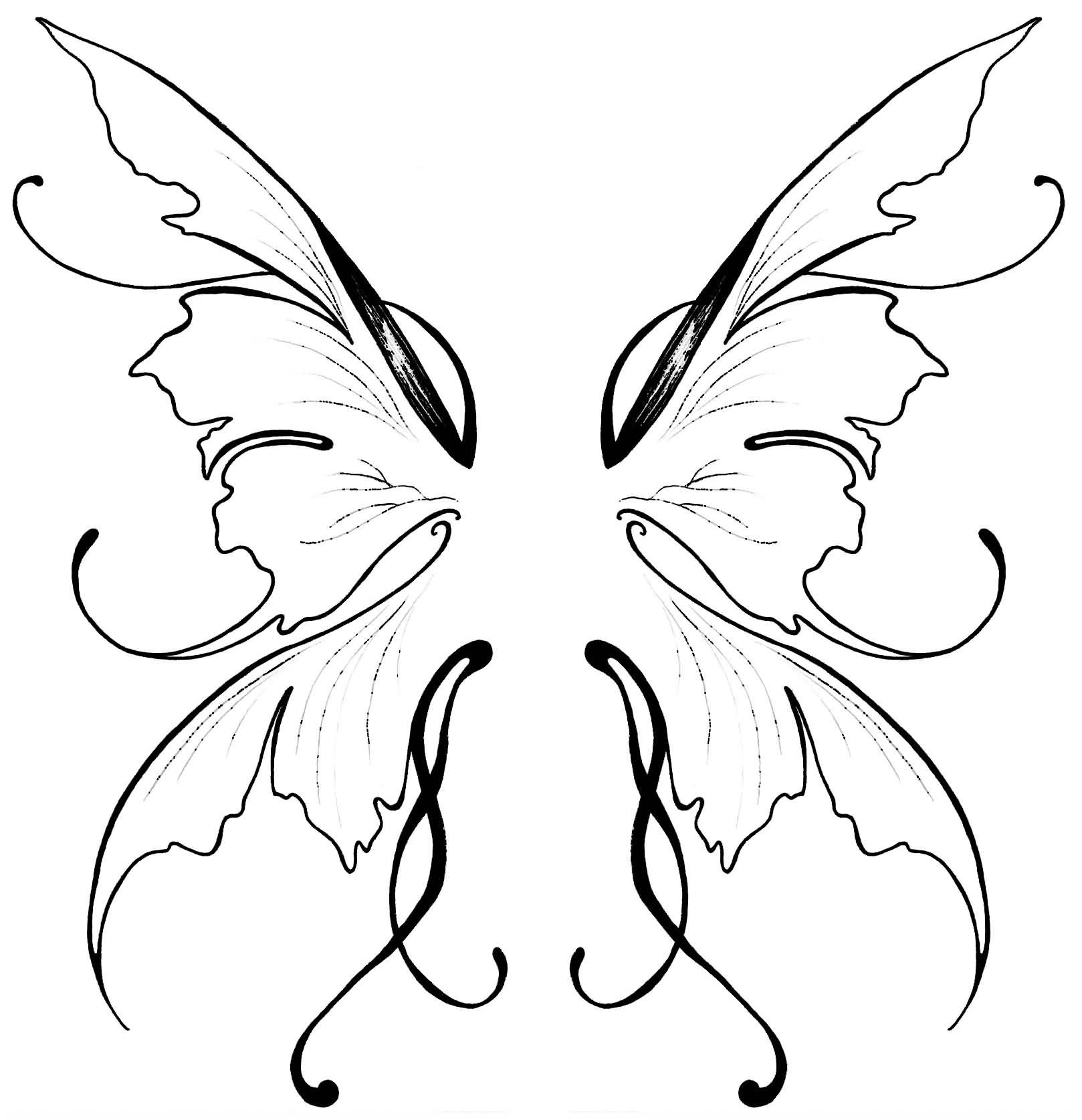 awesome black outline fairy wings tattoo design by liliana reis