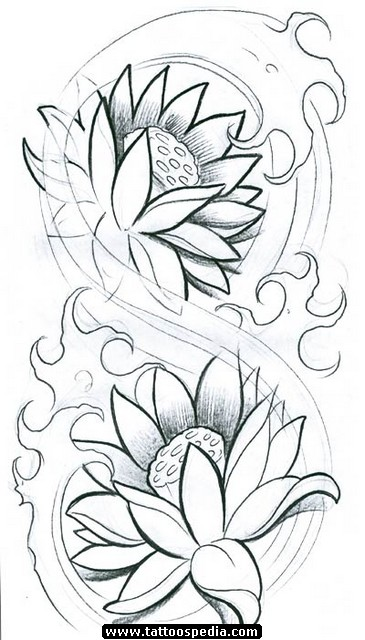 Awesome classic black ink lotus flower tattoo design mightylinksfo