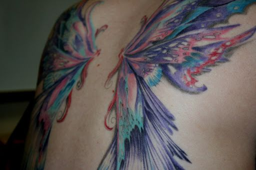 d37658144f1f2 Awesome Colorful Fairy Wings Tattoo On Full Back