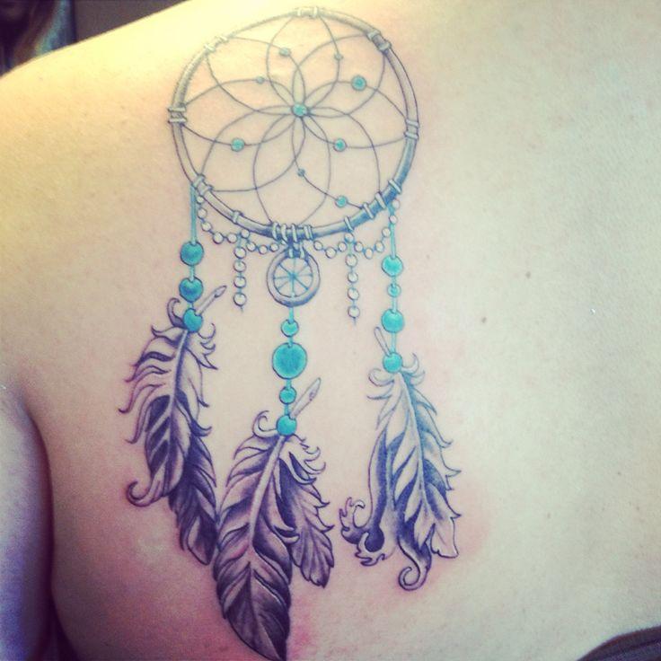 50 dreamcatcher tattoos on shoulder for Back shoulder tattoos for women