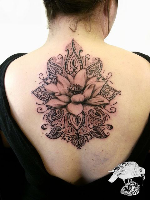 7b8fa270f Awesome Henna Lotus Flower Tattoo On Girl Upper Back